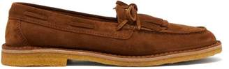 Saint Laurent Fringed Suede Loafers - Mens - Tan