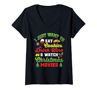 Womens I Eat Cookies Drink Wine And Watch Christmas Movies V-Neck T-Shirt