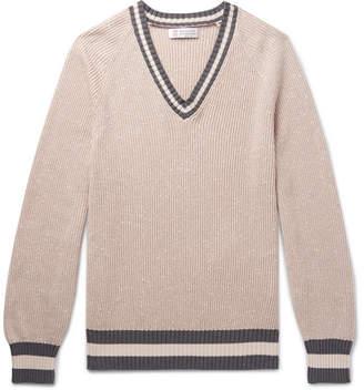 Brunello Cucinelli Contrast-Trimmed Slub Cotton-Blend Sweater