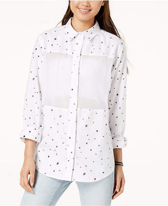 Hurley Juniors' Wilson Mesh Dot Button-Up Shirt