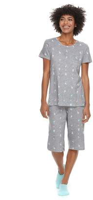 Croft & Barrow Women's Petite Short Sleeve Novelty Pajama Set