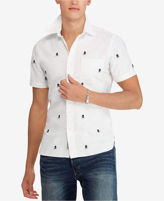 Polo Ralph Lauren Men's Big & Tall Classic Fit Embroidered Skull Oxford Shirt