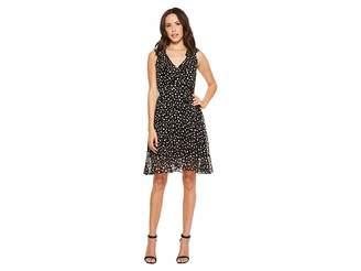 Donna Morgan Printed Chiffon V-Neck Wrap Dress with Ruffle Detail Women's Dress