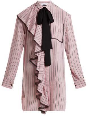 Msgm - Ruffle Trimmed Striped Dress - Womens - Pink
