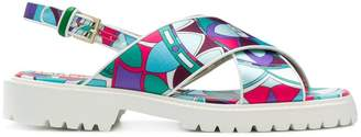 Emilio Pucci printed cross-over sandals