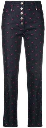 Miaou rose embroidered flared jeans