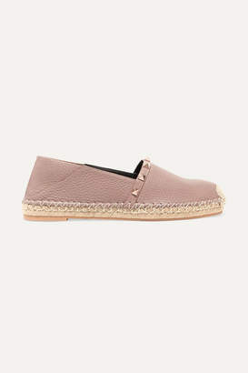 Valentino Garavani The Rockstud Double Textured-leather Collapsible-heel Espadrilles - Neutral
