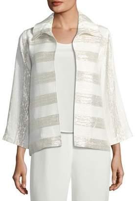 Caroline Rose Metallic Striped Ruched-Collar Jacket, Petite