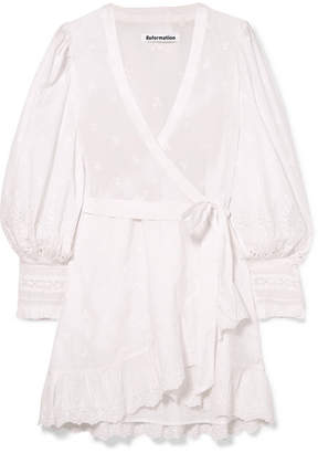 Reformation Harriet Ruffled Organic Broderie Anglaise Cotton Wrap Dress - White