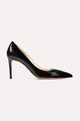 Prada Logo-appliquéd Textured-leather Pumps - Black