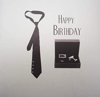 WHITE COTTON CARDS XSB16 Men's Happy Birthday, Tie & Cufflinks Handmade Card