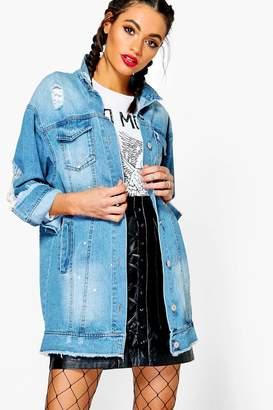 boohoo Lia Paint Splatter Distress Long line Denim Jacket