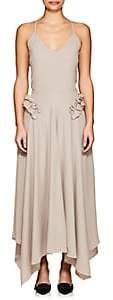 Nina Ricci Women's Ruffle-Accented Crepe Slipdress - Brown