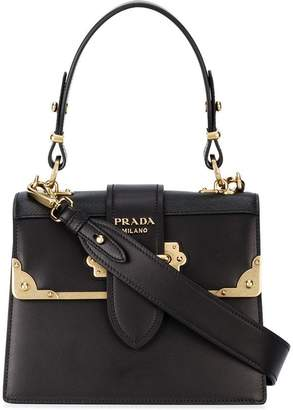Prada black cahier medium leather tote bag