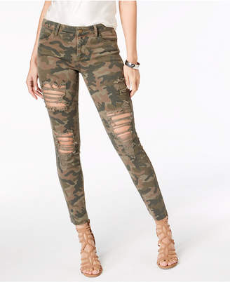 GUESS Distressed Camo-Print Jeans