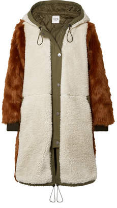 Sea Madeline Canvas-trimmed Paneled Faux Fur And Faux Shearling Coat - Brown