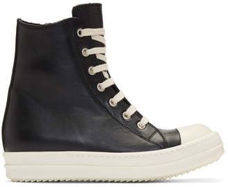 Rick Owens Black and Off-White Leather High-Top Sneakers