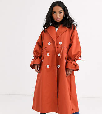 Asos DESIGN Petite luxe contrast button trench in rust