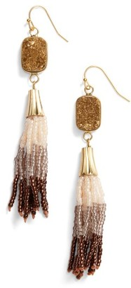 Women's Panacea Drusy Tassel Drop Earrings $34 thestylecure.com