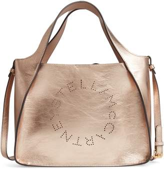 Stella McCartney Perforated Logo Metallic Faux Leather Satchel