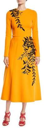 Oscar de la Renta Long-Sleeve Jewel-Neck A-Line Leaf-Embroidered Tea-Length Cocktail Dress