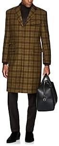 Cifonelli Men's Velvet-Trimmed Plaid Wool Overcoat - Tan