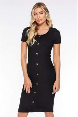 Quiz Black Ribbed Button Front Midi Dress