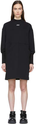 MSGM Black Mock Neck Sweatshirt Dress