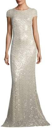 Badgley Mischka Short-Sleeve Sequin Cowl-Back Evening Gown