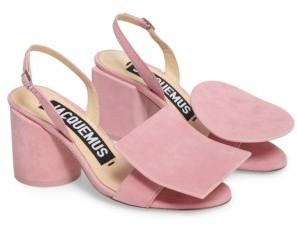 Women's Jacquemus Les Rond Carre Suede Sandal $545 thestylecure.com