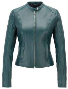 BOSS Hugo Slim-fit biker jacket in lambskin peplum waist 4 Open Green