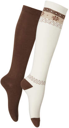 Hue Women's 2-Pk. Blocked Fair Isle Knee Socks