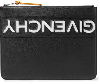 Givenchy Appliqued Full-Grain Leather Pouch - Black