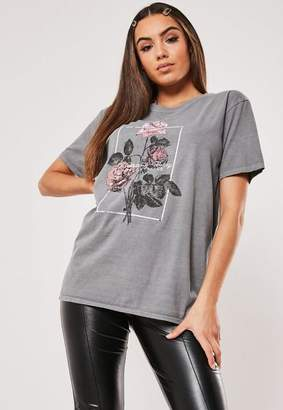 Missguided Gray Flower Vintage Wash Graphic T Shirt
