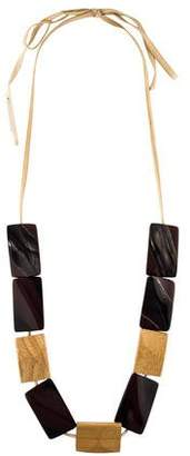 Marni Horn, Resin & Wood Statement Necklace