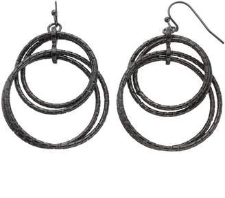 Textured Interlocking Double Drop Hoop Earrings