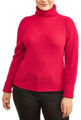 Evelyn Taylor Women's Plus Size Puff Sleeve Pullover