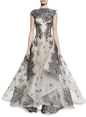 Zac Posen Sleeveless Lace Ball Gown, Nude/Black $7,990 thestylecure.com