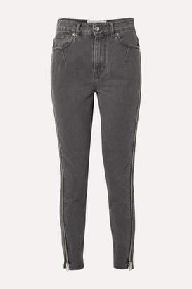 IRO Essey Zip-embellished Frayed High-rise Skinny Jeans - Dark gray