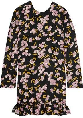Marni Ruffled Floral-Print Cotton And Silk-Blend Mini Dress