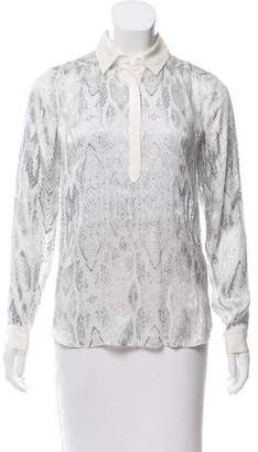 Rebecca Taylor Textured Animal Printed Top