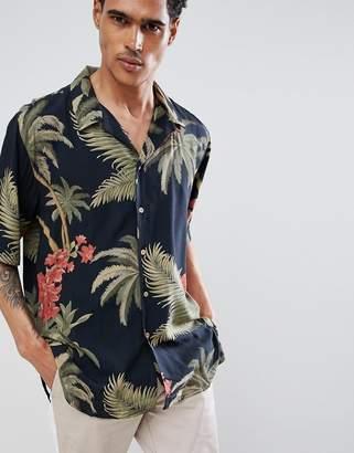 Bershka Floral Shirt In Black