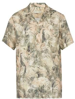 Etro Palm Print Linen Shirt - Mens - Beige