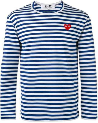 Comme des Garcons striped heart embellished top