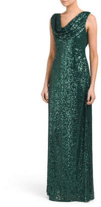 Sequin Gown With Drape Back