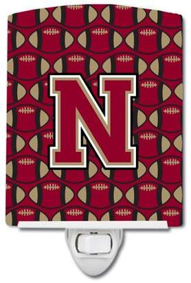 N. Caroline's Treasures Letter Football Garnet and Gold Ceramic Night Light