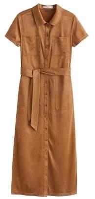 MANGO Buttons faux suede dress