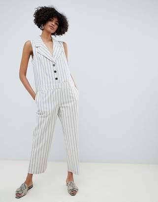 7b8b82fd639 Asos Design DESIGN tux jumpsuit in stripe print with button front