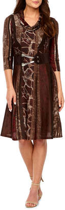 Robbie Bee 3/4 Sleeve Animal Fit & Flare Dress