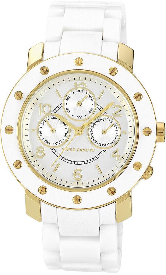 Vince Camuto Watch, Women's White Ceramic Bracelet 41mm VC-5044GPWT